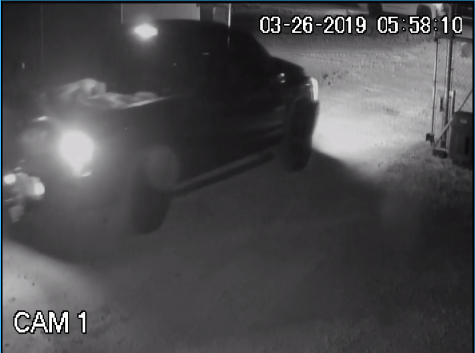 Dodge Ram in Tractor Theft Leaving WhatEver Storage
