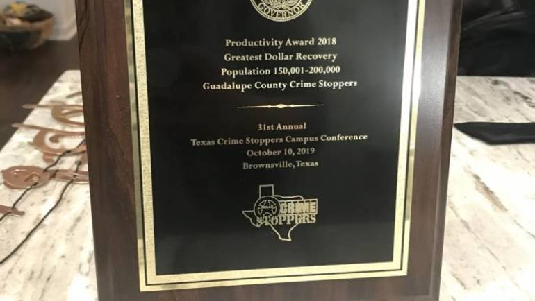 Guadalupe County Crime Stoppers Wins Productivity Award
